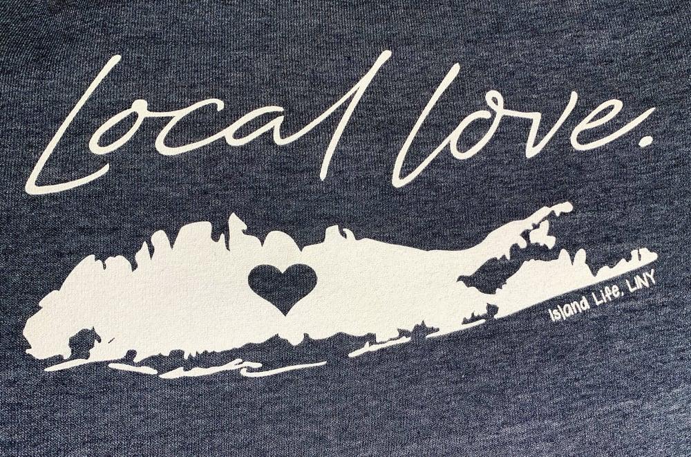 "Image of ""Local Love"" Slim Fit Off The Shoulder Ladies' Sweatshirt - True Navy"