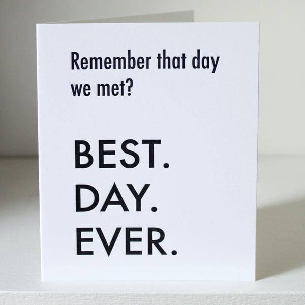 Image of Day we met, letterpress card