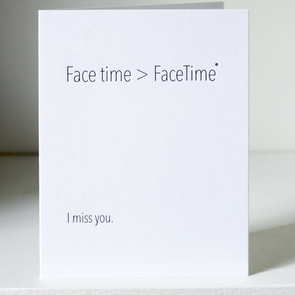 Image of I miss you, letterpress card