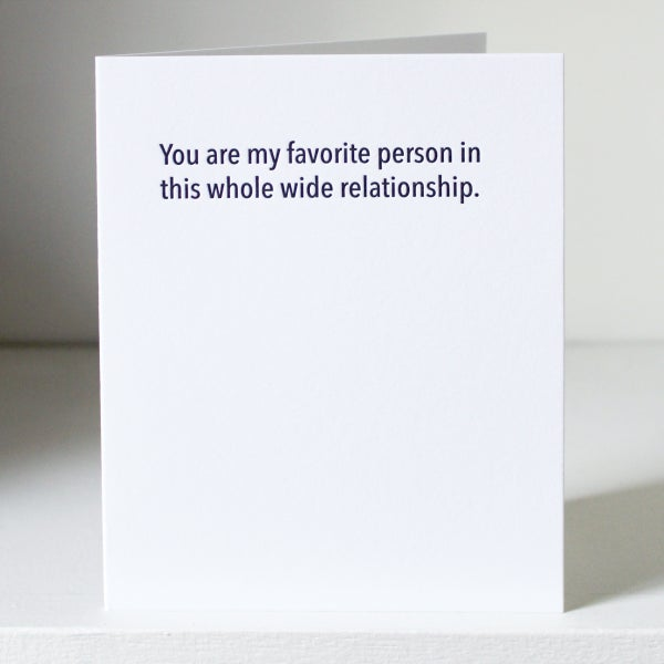 Image of Favorite person, letterpress card