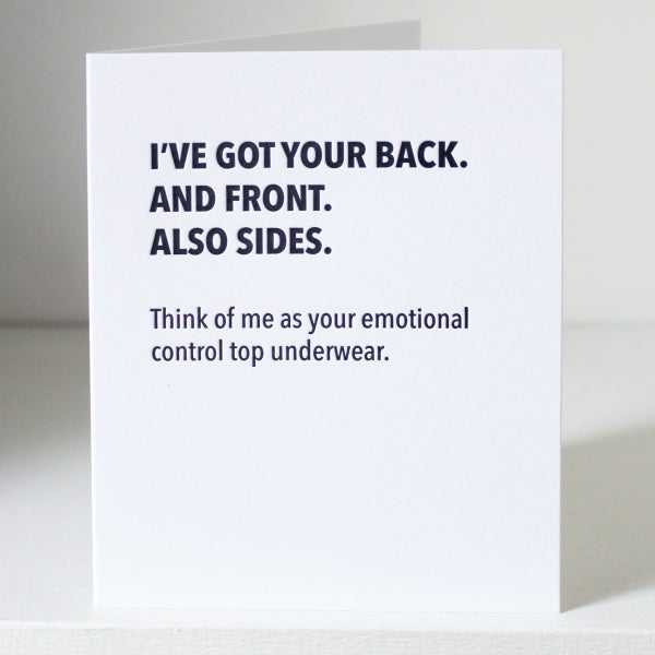 Image of I've got your back, letterpress card