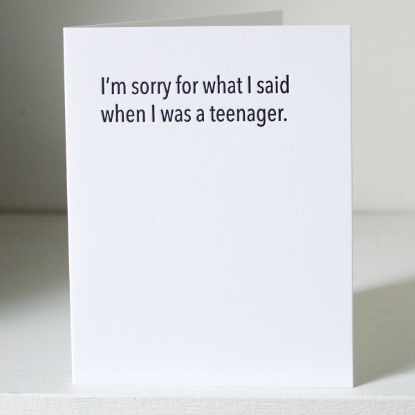 Image of When I was a teenager, letterpress card