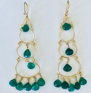 Image of 4 tier drop earring in green onyx, blue chalcedony, Mix Dark and Light blue chalcedony