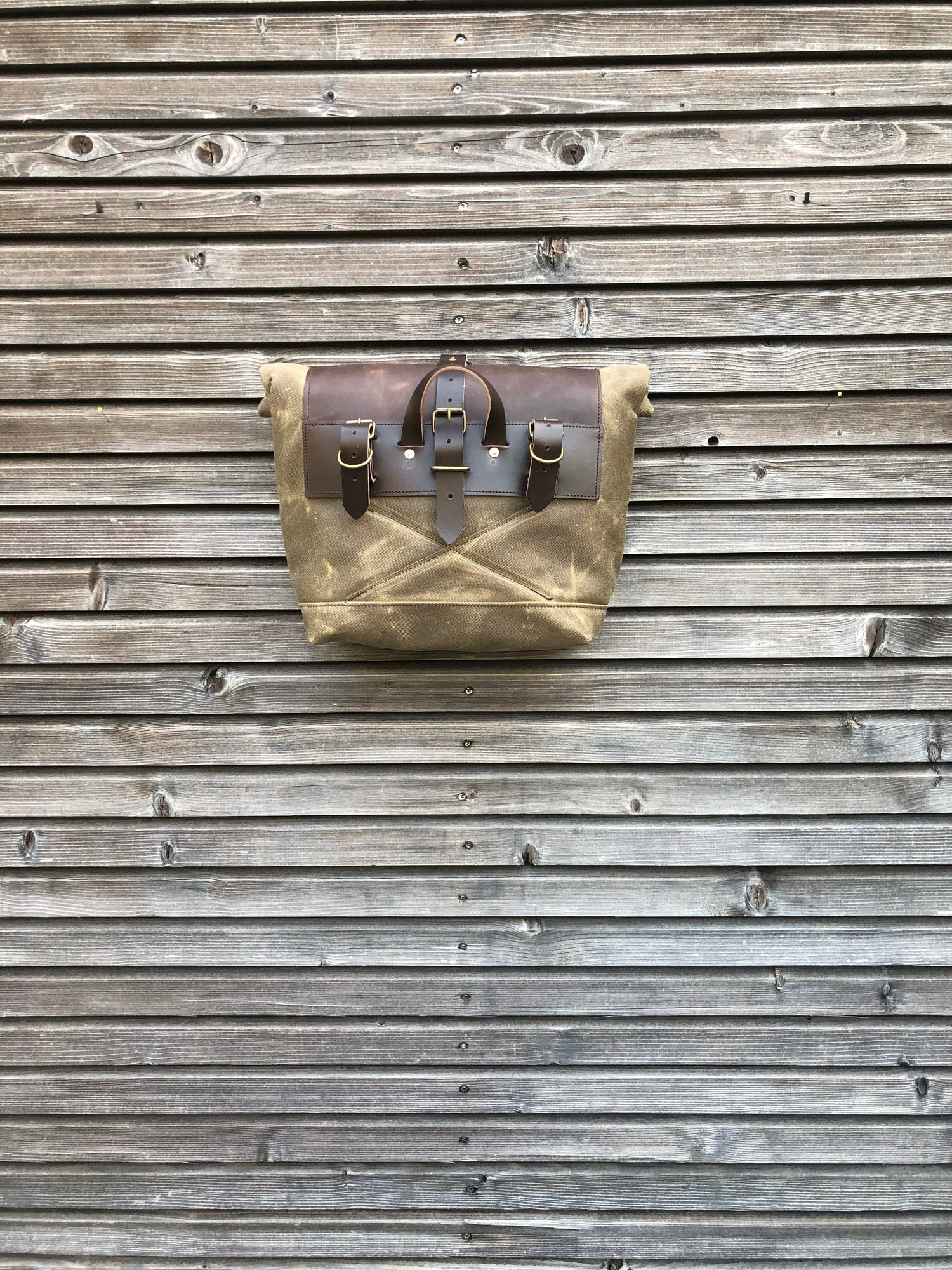 Image of Saddlebag for motorcycle in waxed canvas, Motorbike bag Motorcycle bag Bicycle bag in waxed canvas B