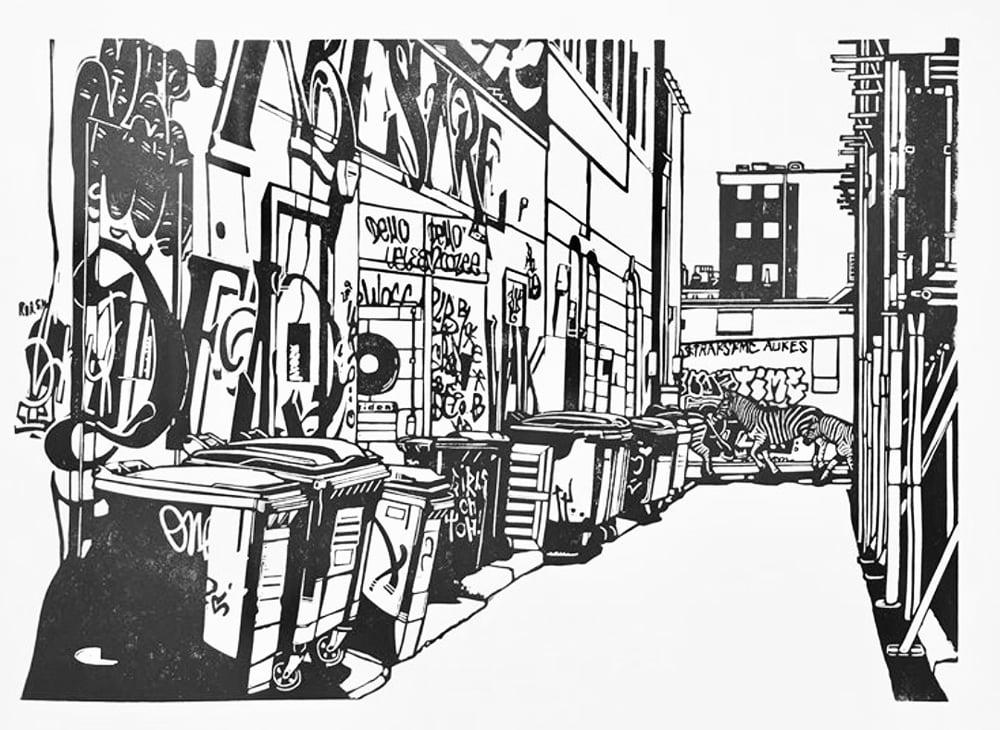 Lockdown #1 linocut print (single colour version)