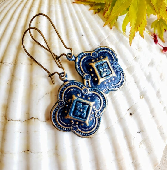 Image of Enamel & Brass Filigree Earrings Navy