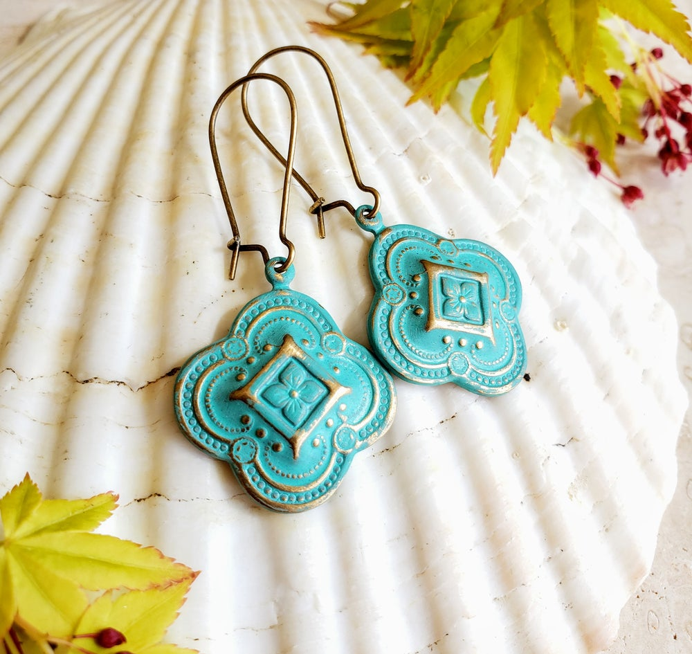Image of Enamel & Brass Ornate Filigree Earrings Turquoise