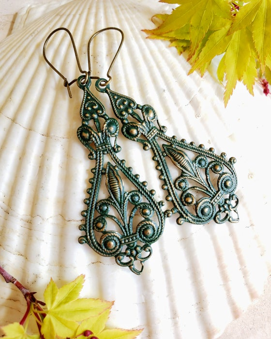 Image of Enamel & Brass Bohemian Filigree Earrings Forest Green