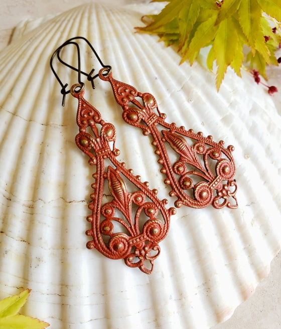 Image of Enamel & Brass Bohemian Filigree Earrings Turmeric