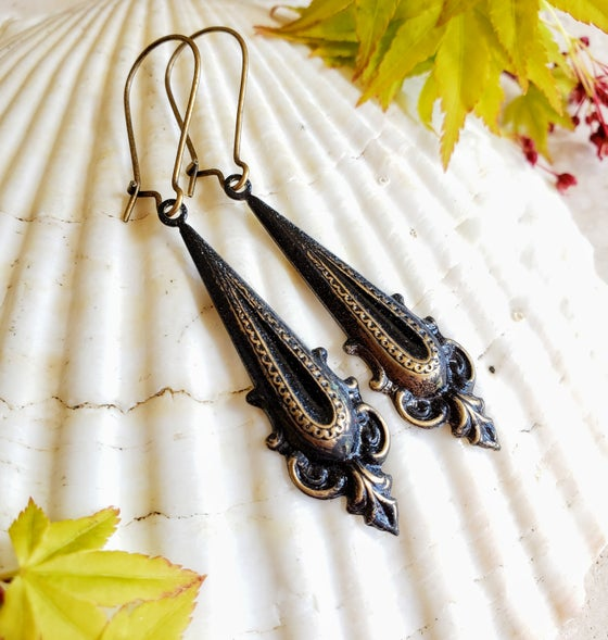 Image of Enamel & Brass Black Dangle Earrings