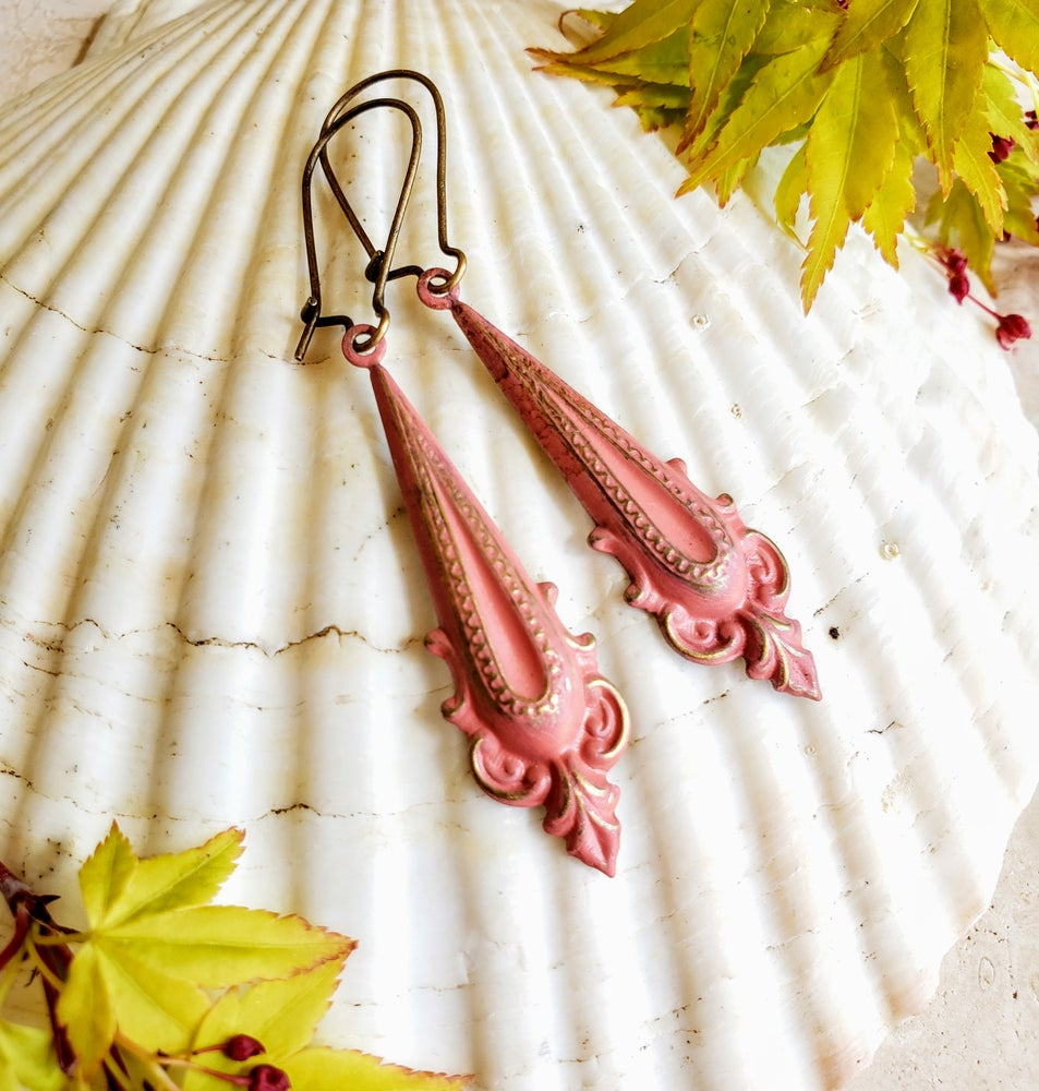 Image of Enamel & Brass Coral Dangle Earrrings