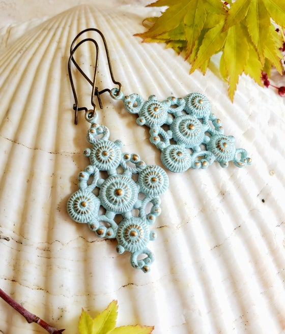 Image of Bohemian Brass & Hand Enameled Earrings in Cloud Blue