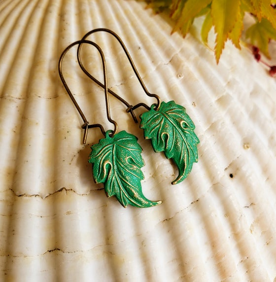 Image of Hand Enameled Delicate Brass Leaf Leaves Earrings