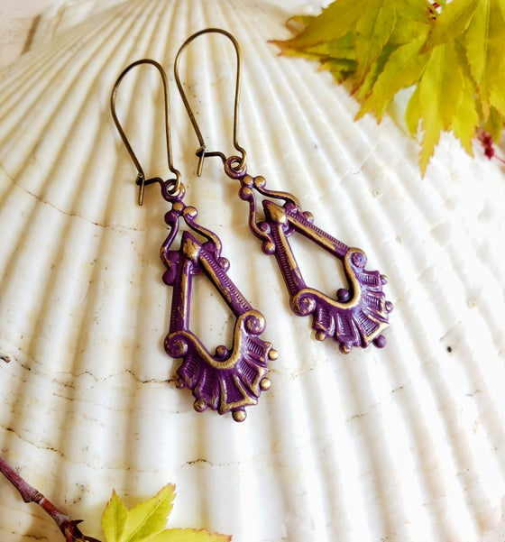 Image of Enamel & Brass Distressed Filigree Earrings Plumb