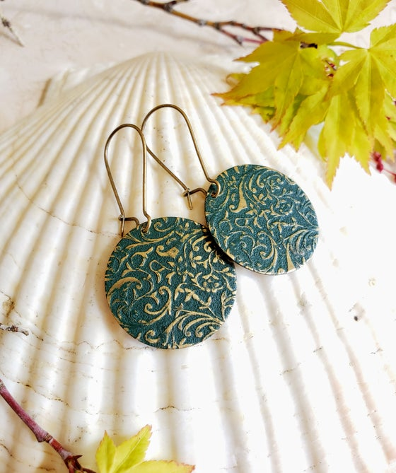 Image of Forest Green Enamel & Brass Filigree Earrings