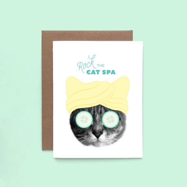 Image of rock the cat spa card - self-love time - pamper yourself - take care kitty