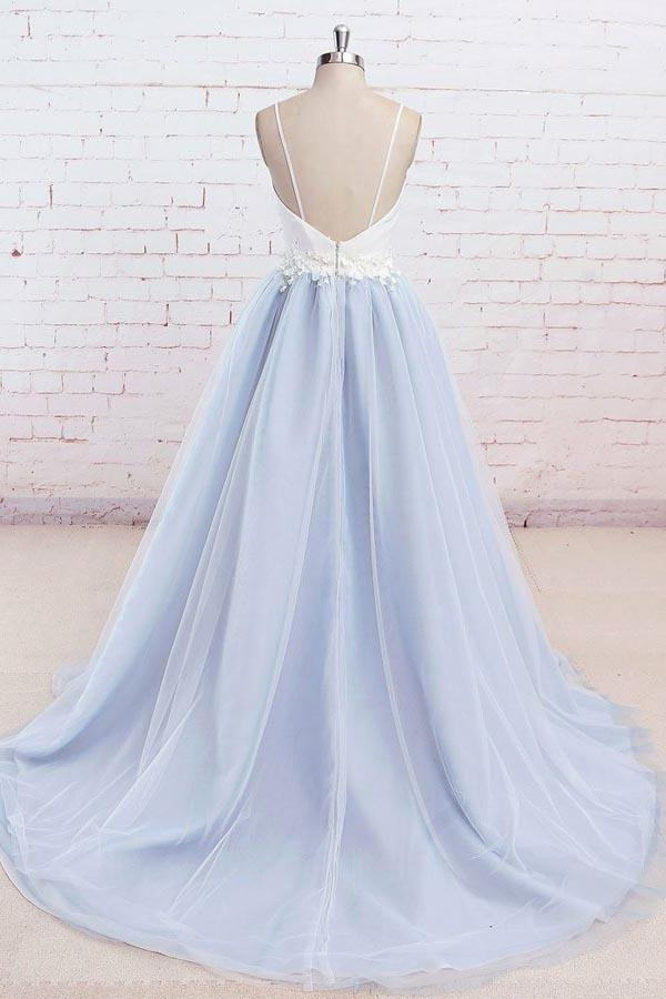 Charming Tulle Light Blue Spaghetti Straps Sweep Train Prom Dress, Long Party Dress