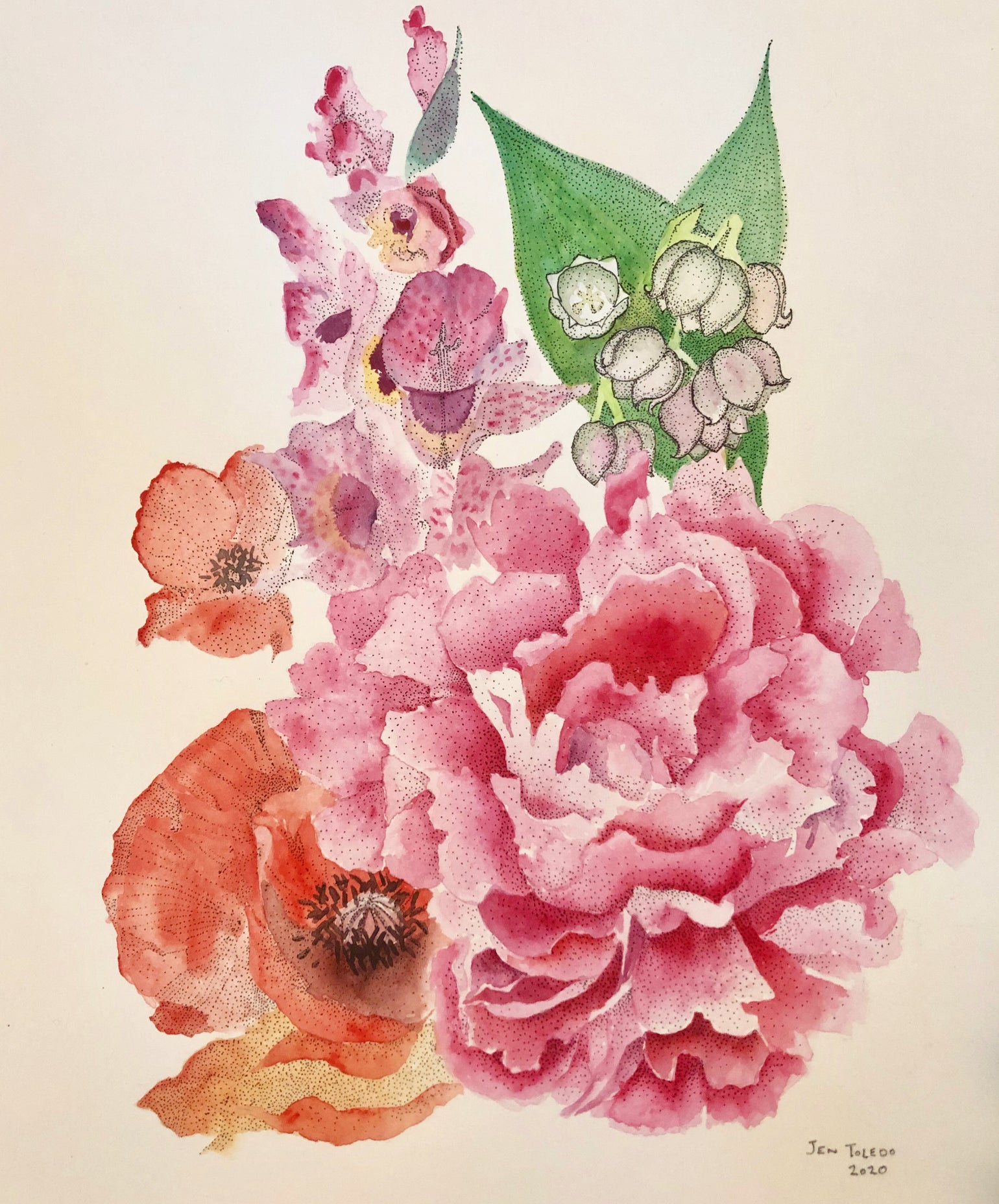 Image of Peony, Gladiolus, Lily of the Valley & Poppy