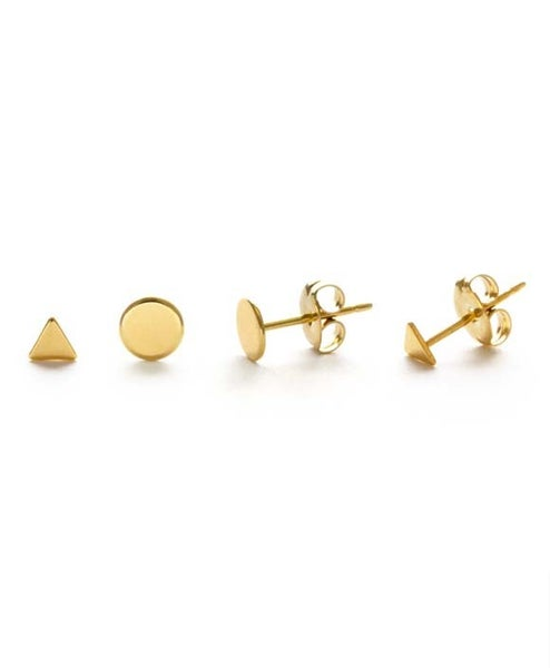 Image of Amano Gold Geometric Combo Stud Earrings