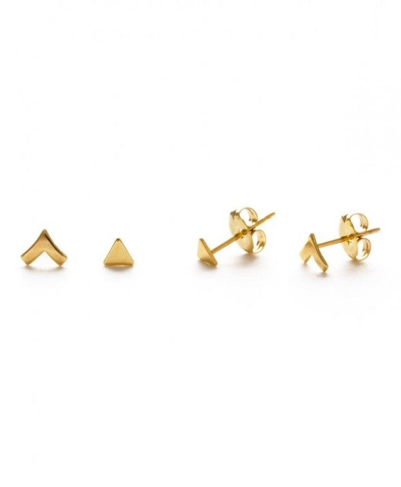 Image of Amano Gold Insignia Combo Stud Earrings