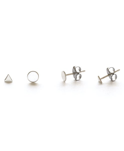Image of Amano Silver Geometric Combo Stud Earrings