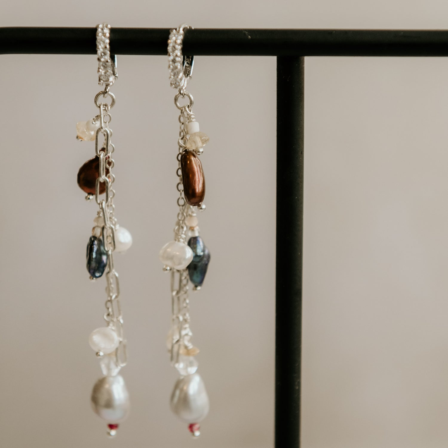 Image of Diana Pearl Earrings Blue