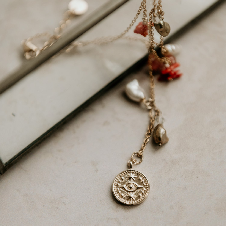 Image of Charm & Evil Eye Necklace
