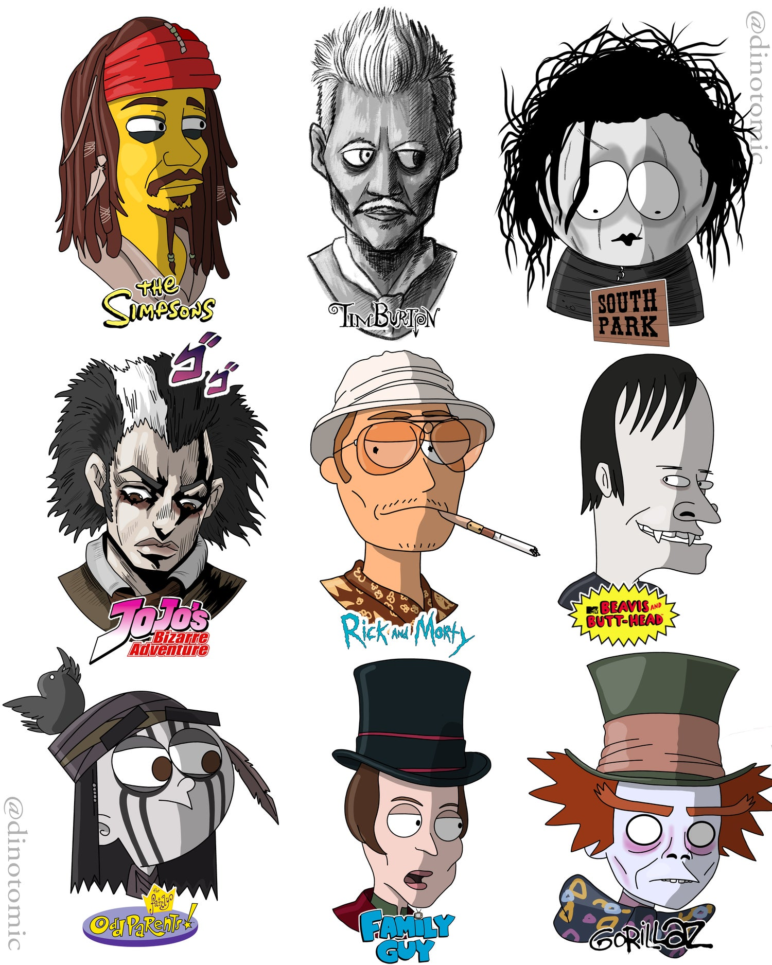 Image of #185 Johnny Depp in many styles