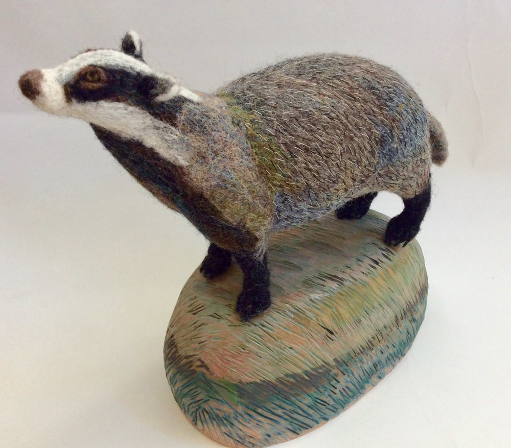Image of Curious  Badger. (Ceramic Landscape Collection.)