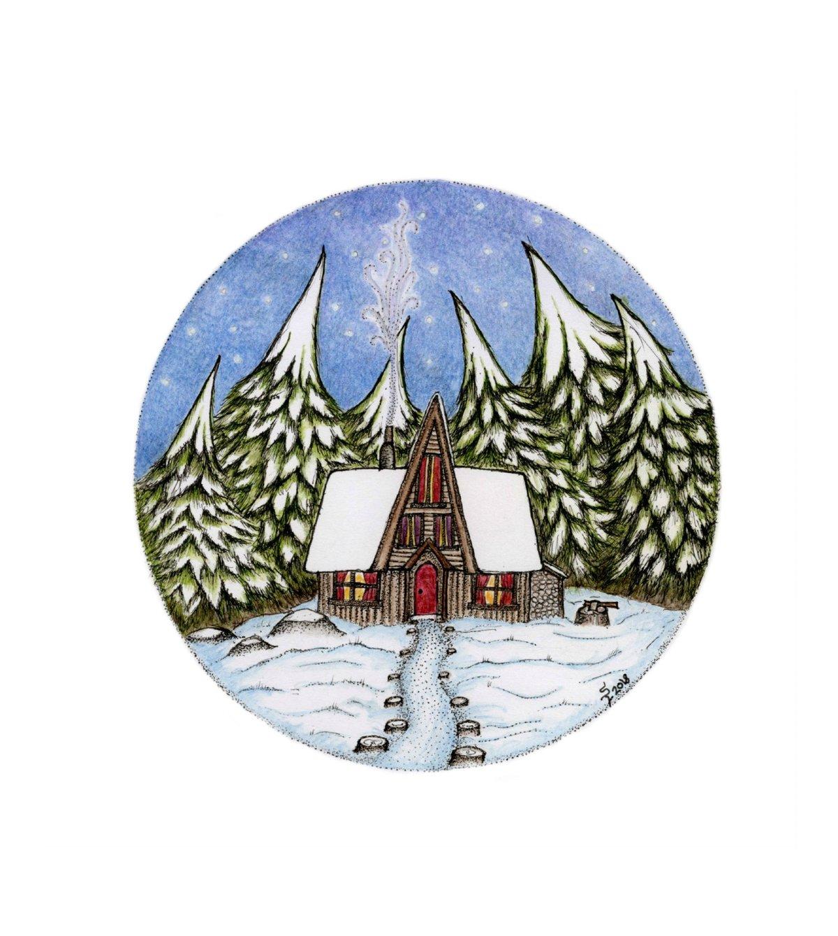Pine Cone Cabin art print