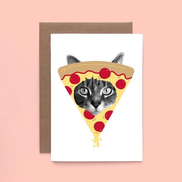 Image of gee whiskers series: pizza cat card - i love pizza kitty
