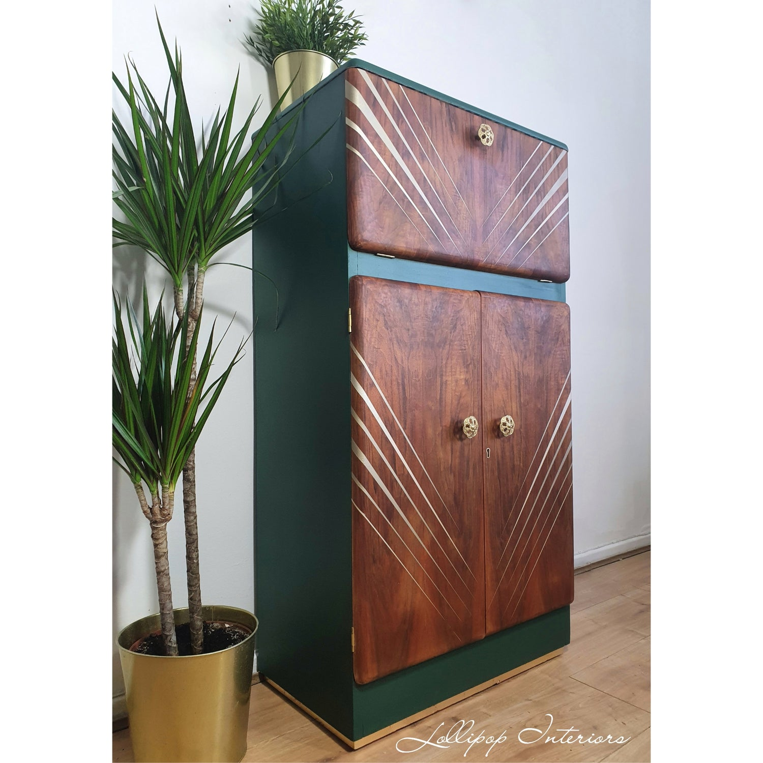 Image of Vintage cocktail cabinet in green