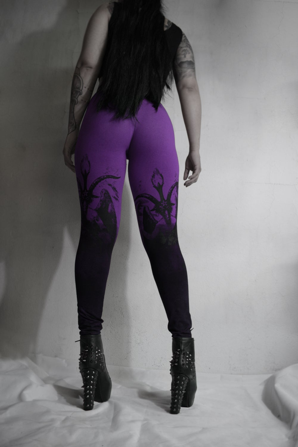 Image of  Gray Red  Purple Degraded Baphomet legging FREE SHIPPING