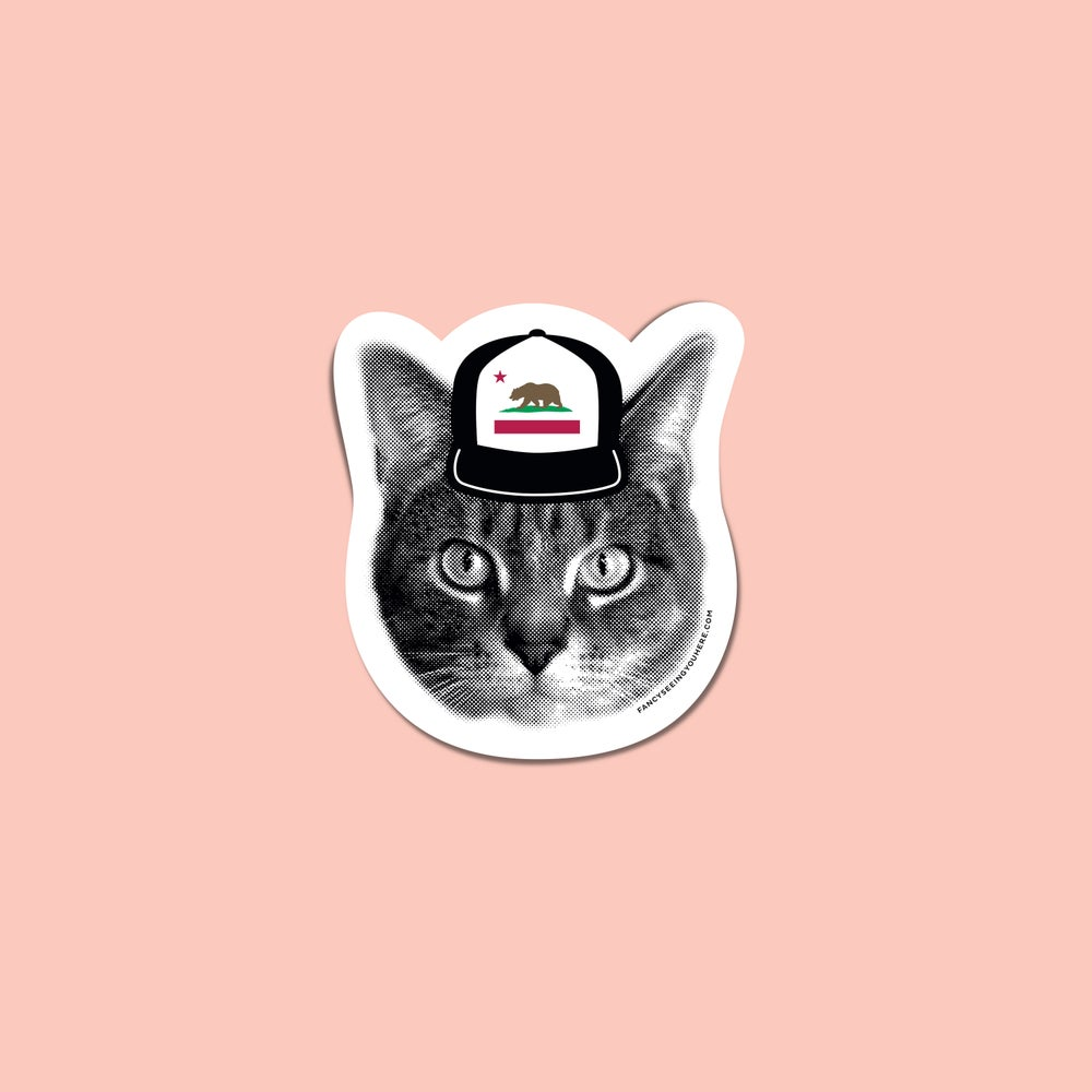 Image of gee whiskers: Cali cat sticker  - California love kitty - CA hat