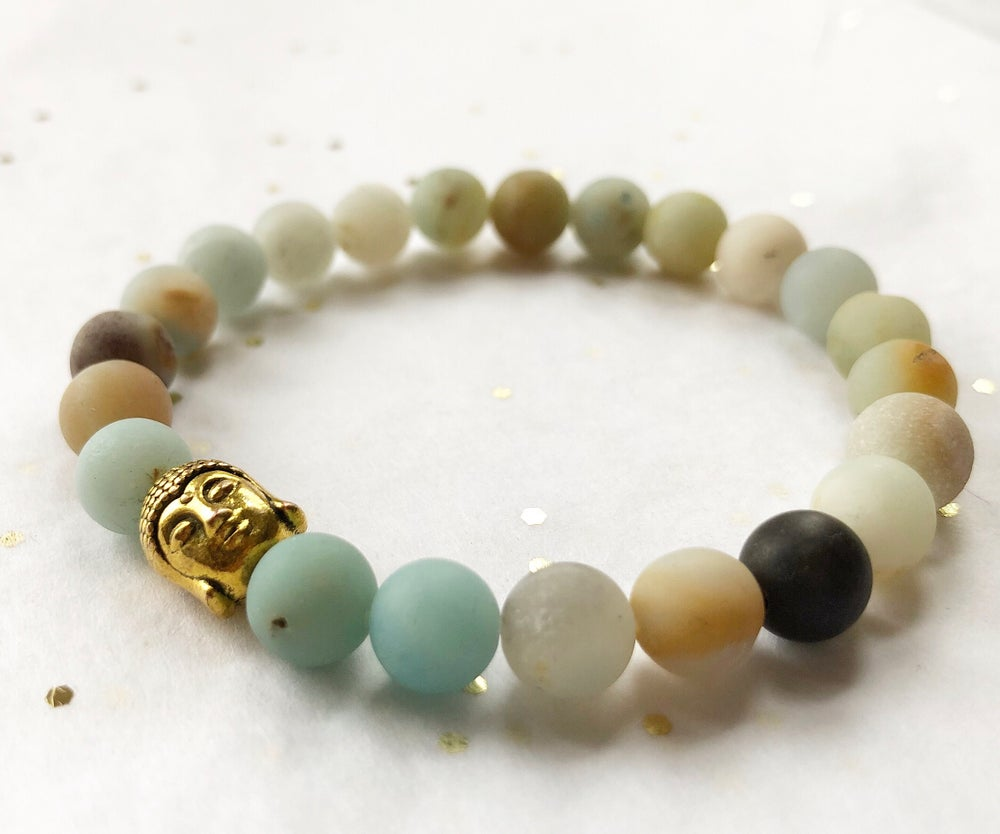 Image of AMAZONITE GOLD CHARM BRACELET