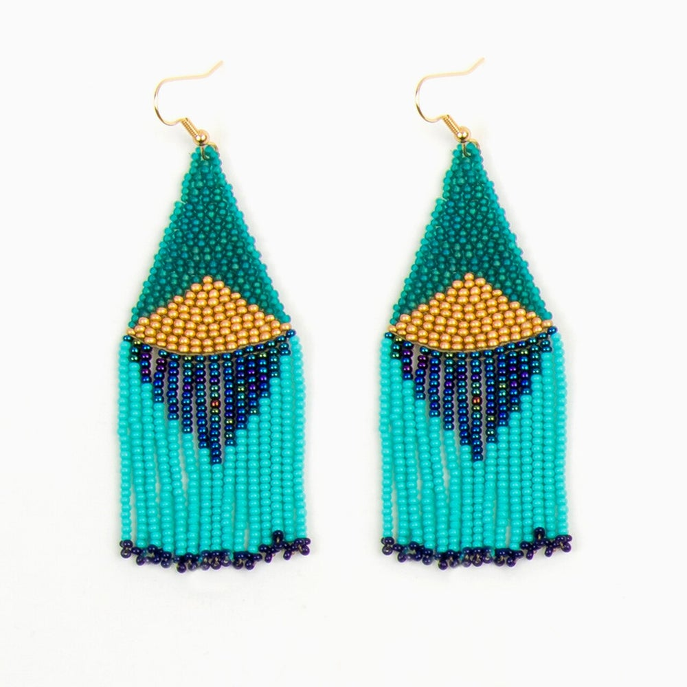 Image of Turquoise Graphic Fringe Earrings
