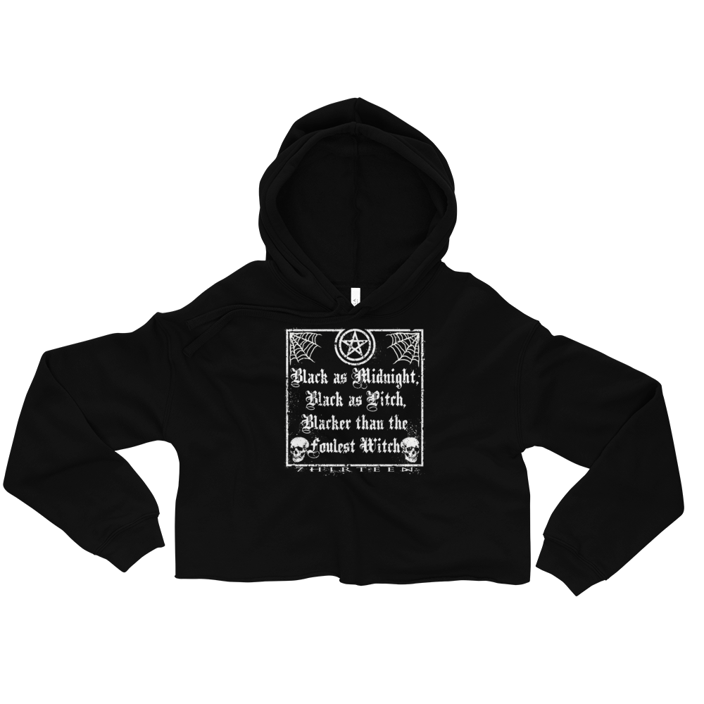 Image of BLACK AS MIDNIGHT. BLACK AS PITCH. - WOMENS CROPPED HOODIE