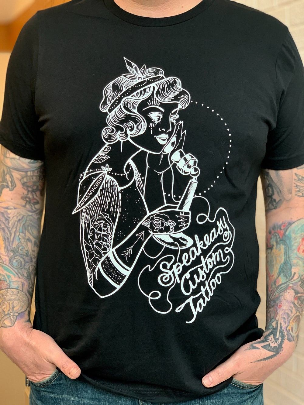 Image of NEW! Speakeasy Custom Tattoo Flapper Girl T-Shirt