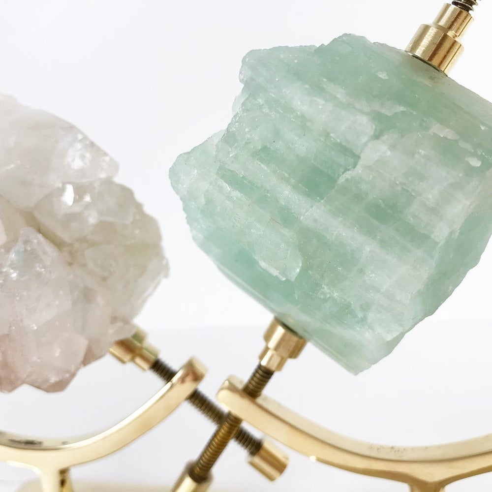 Image of Aquamarine no.15 + Brass Arc Stand
