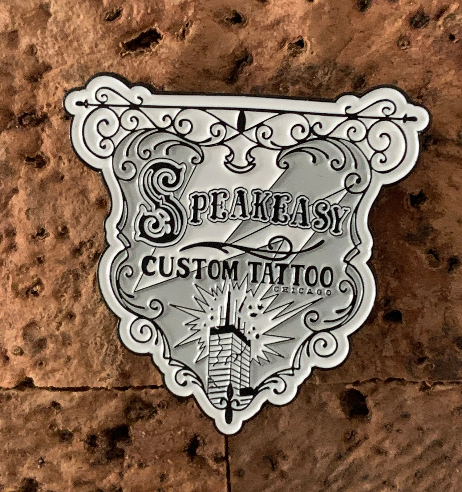 Image of Speakeasy Banner Enamel Pin- Black