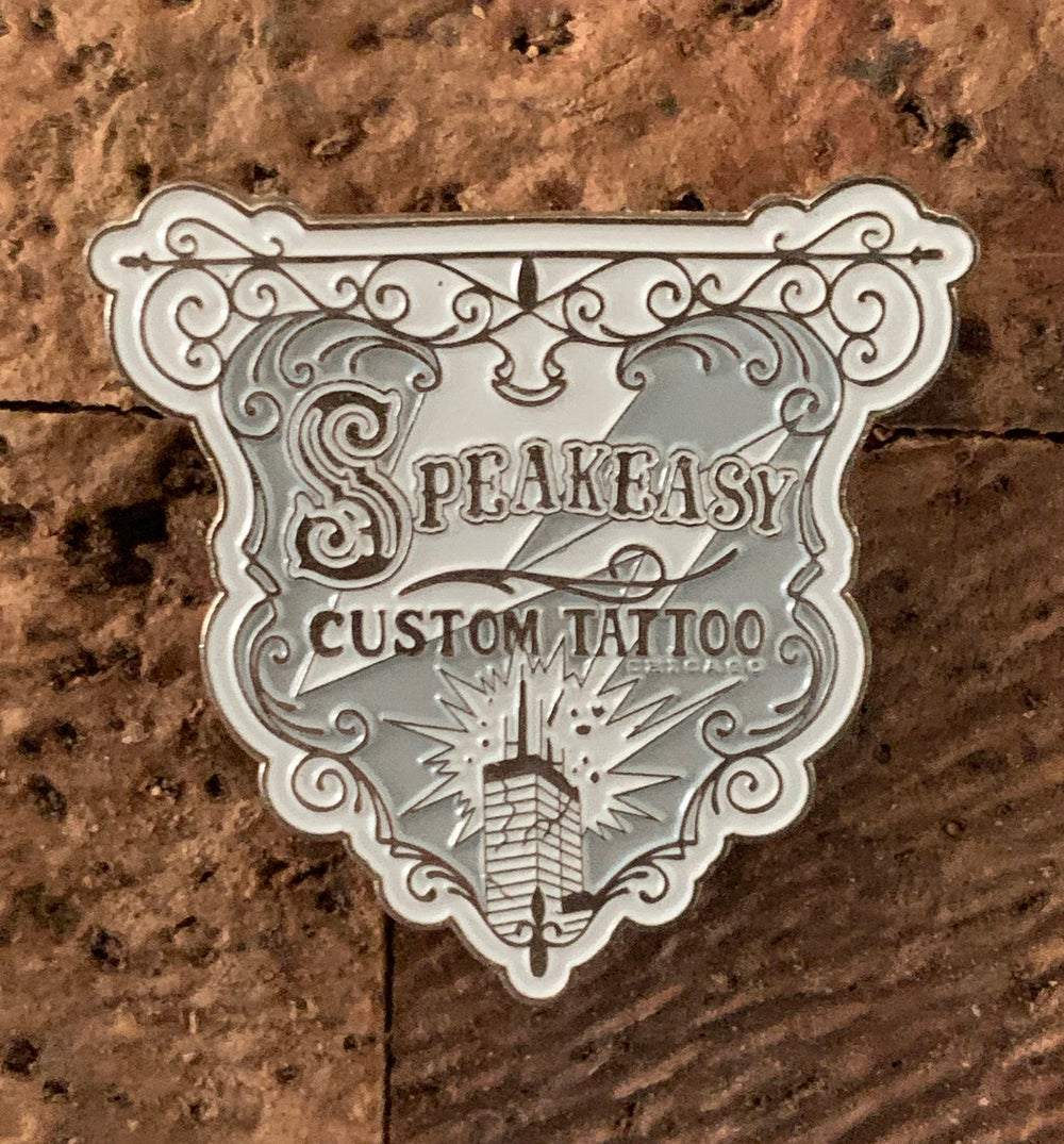 Image of Speakeasy Banner Enamel Pin- Gold