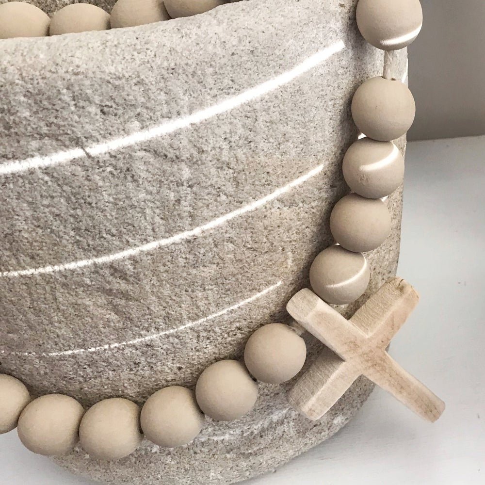 Image of 'Washed Sand' Original Beads with Wooden Cross