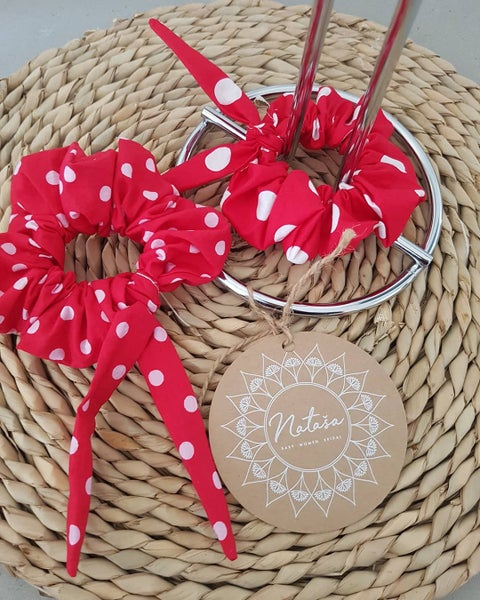 Image of Red&White Polka Dot Scrunchies.