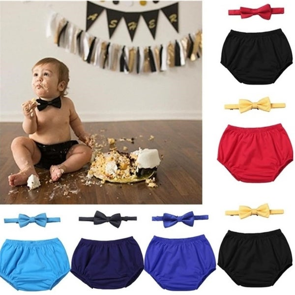 Image of Boys Cake Smash Bloomers with matching Bow Tie set.