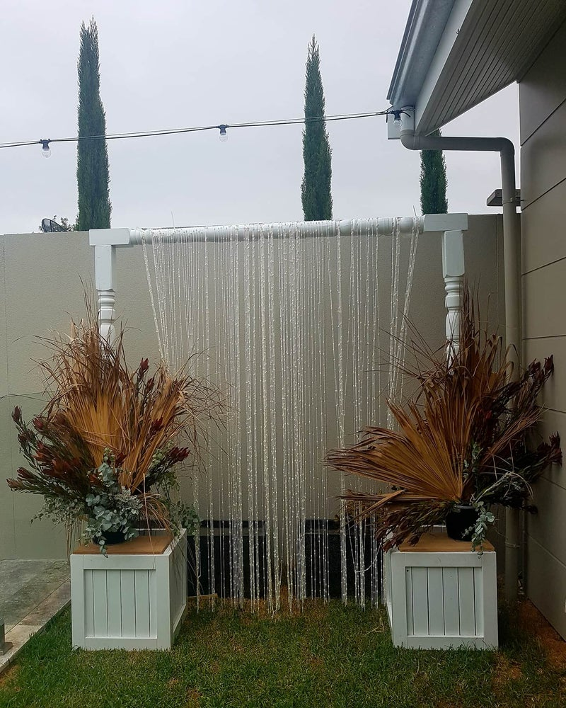 Image of NatasaHire White Wooden Arbour + Boho  Curtain.