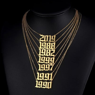 Image of Stainless Steel Birth Year Necklace