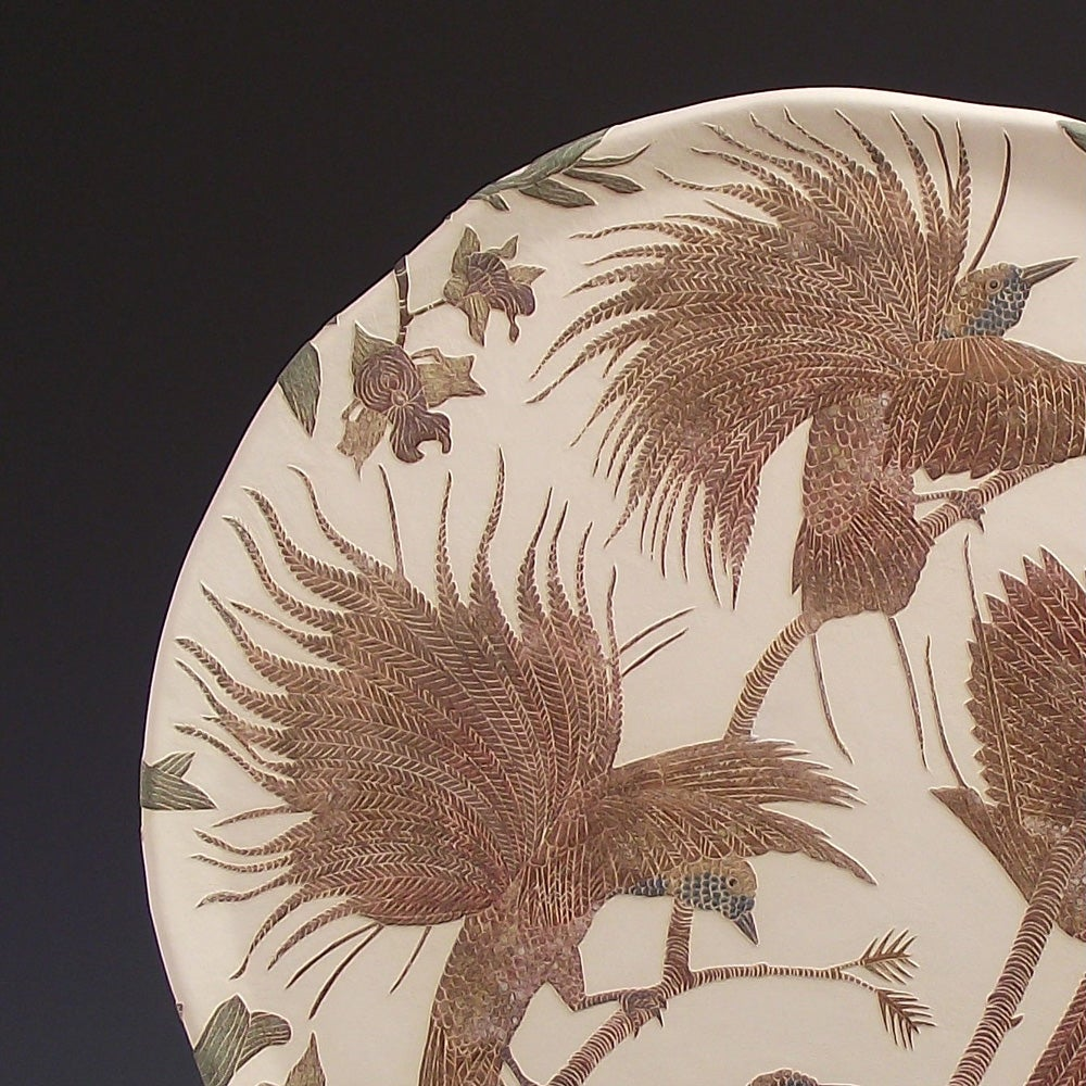 Raggiana birds of paradise & orchids ceramic sgraffito wall art