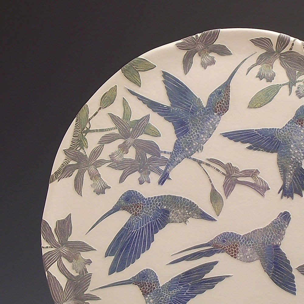 Ruby throated hummingbirds & orchids ceramic sgraffito wall art
