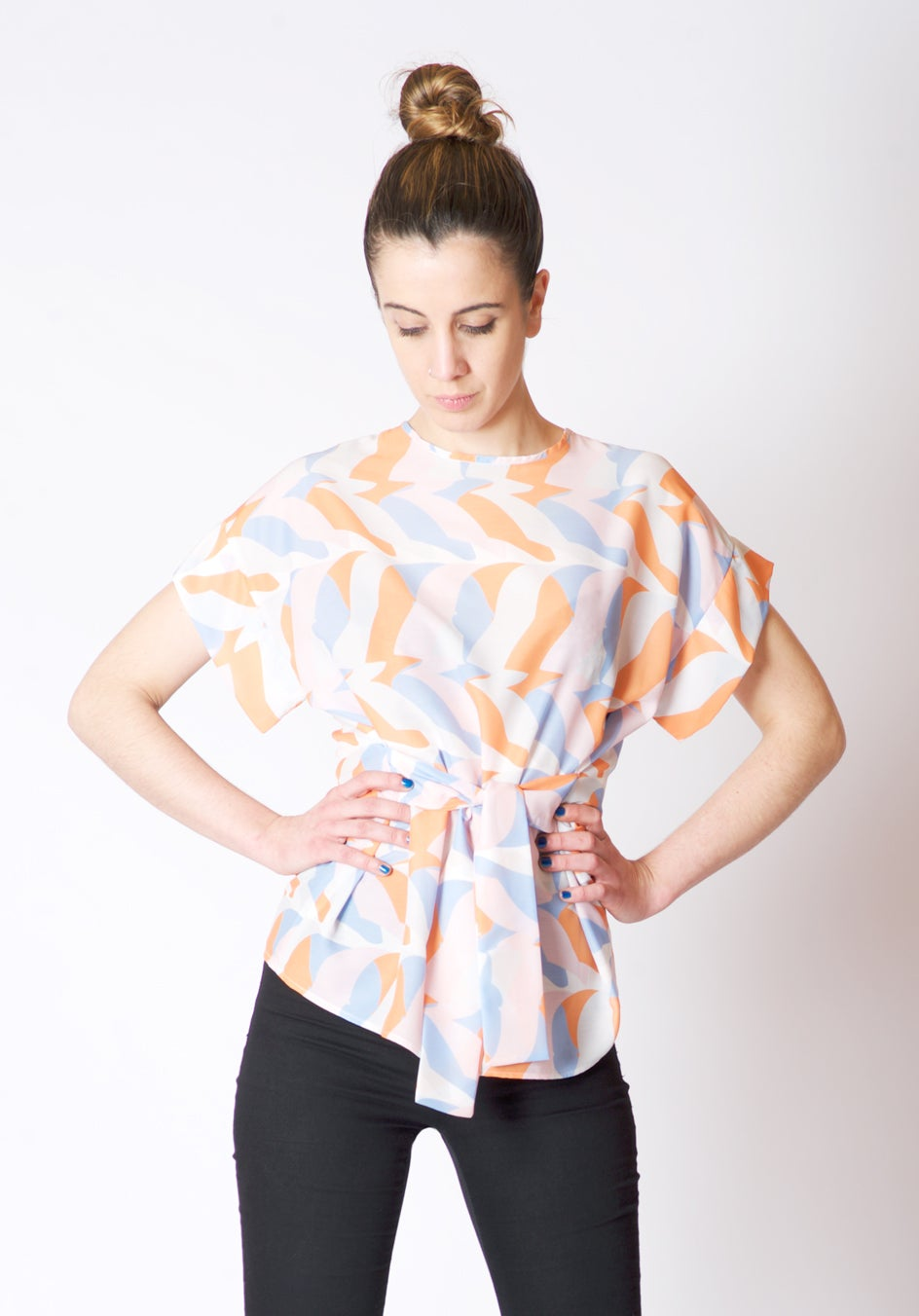 Image of BELTED PRINT BLOUSE