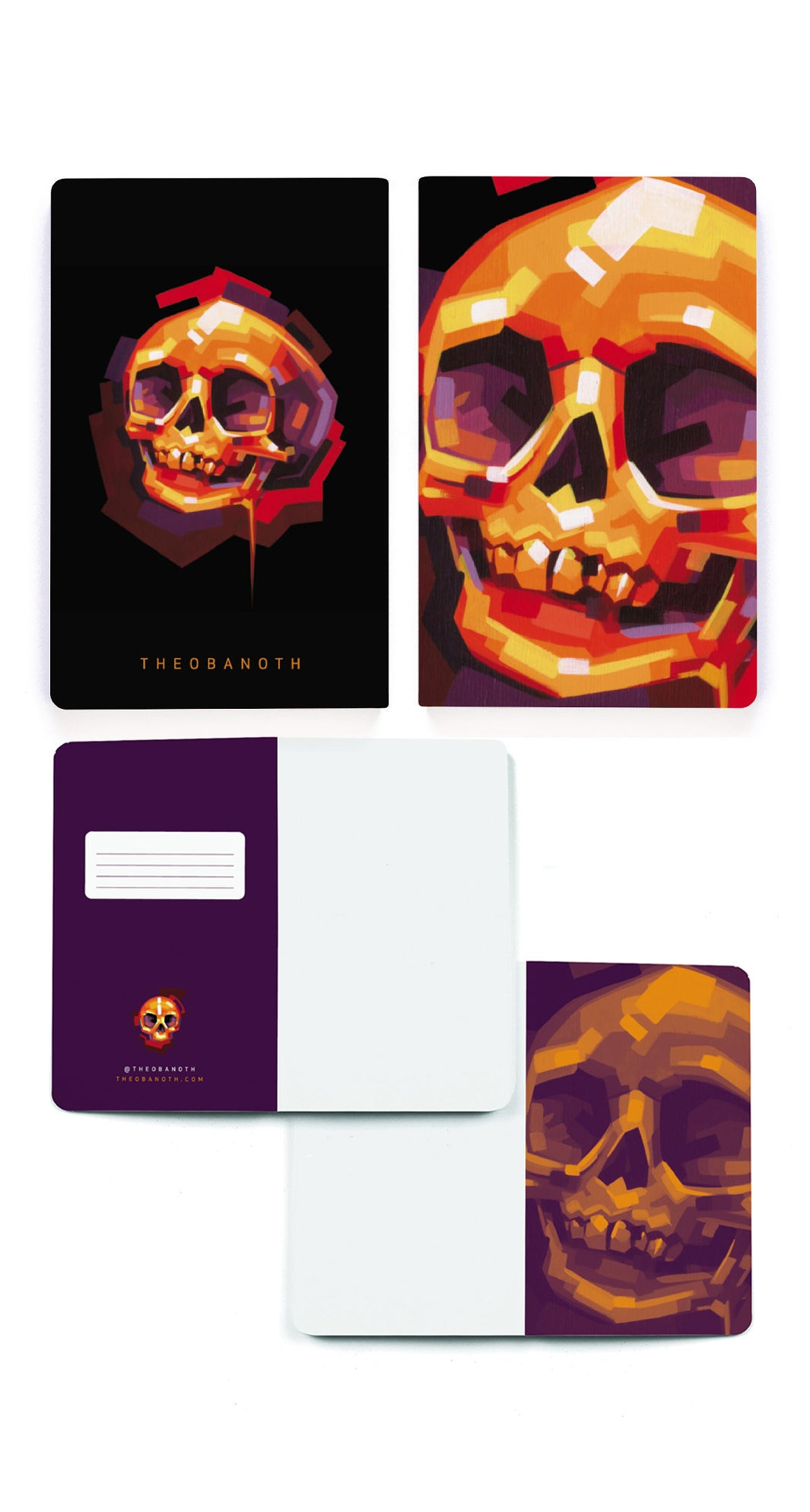 Image of Soft-Cover Sketchbook - Orange Skull